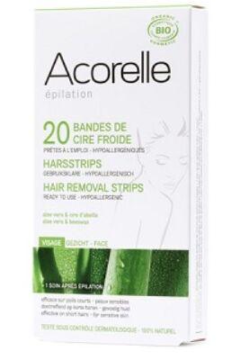 Acorelle Bio hideggyanta szőrtelenítő csík - arcra 10x2 db (4,8ml)