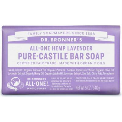 Dr. Bronner's Lavender Pure-Castile Bar Soap 140g
