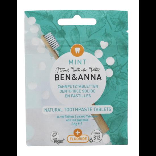Ben & Anna Mentás fogtabletta fluoriddal, B12 vitaminnal 36g