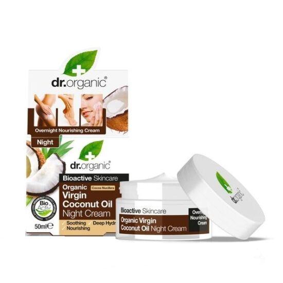 Dr. Organic Éjszakai arcápoló krém bio szűz kókuszolajjal 50ml