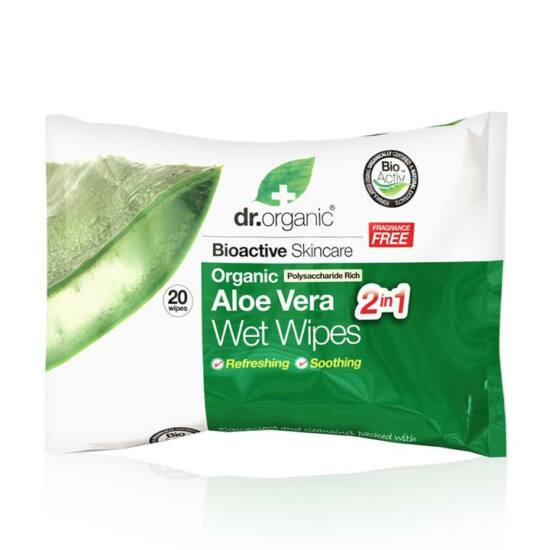 Dr. Organic Nedves törlőkendő bio aloe verával 20db