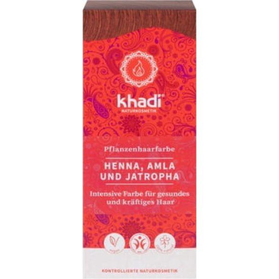 Khadi Növényi hajfesték por - vörös (henna, amla és jatropha) 100g